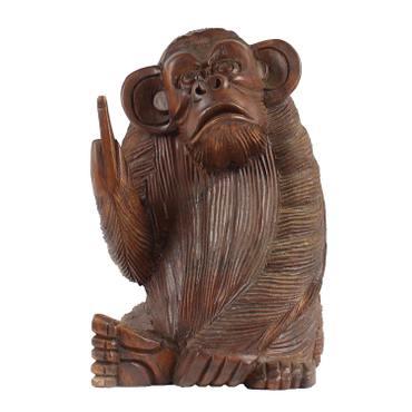 Affe aus Holz Figur Skulptur Affenskulptur Mittelfinger Stinkefinger Deko Tier Monkey Holzaffe Affenfigur – Bild 3