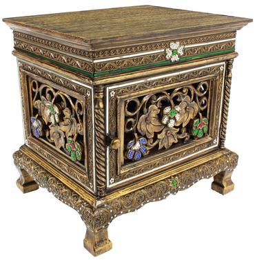 Nachttisch Dielenschrank Beistelltisch Kommode Badschrank Nachtschrank ca. 50 cm Spiegelsteine Blumen Holz Gold