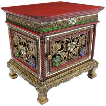 Nachttisch Dielenschrank Beistelltisch Kommode Badschrank Nachtschrank ca. 50 cm Spiegelsteine Blumen Holz Rot – Bild 1