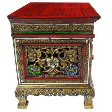 Nachttisch Dielenschrank Beistelltisch Kommode Badschrank Nachtschrank ca. 50 cm Spiegelsteine Blumen Holz Rot – Bild 5