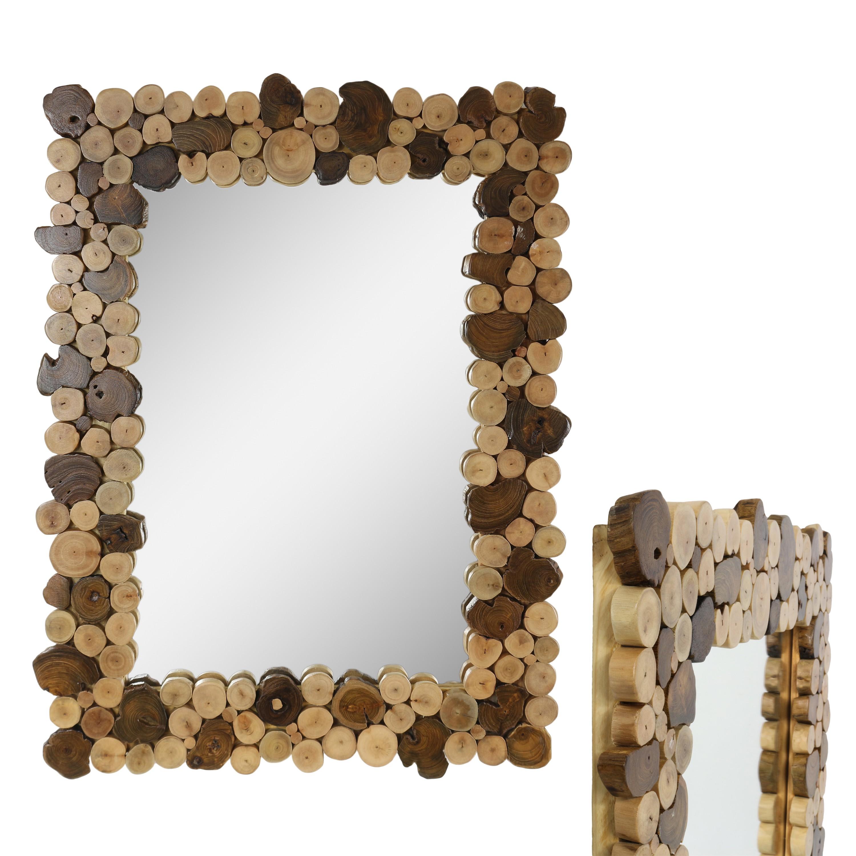 dekorativer spiegel mit rahmen aus holzscheiben mosaik wandspiegel aus thailand massiv. Black Bedroom Furniture Sets. Home Design Ideas