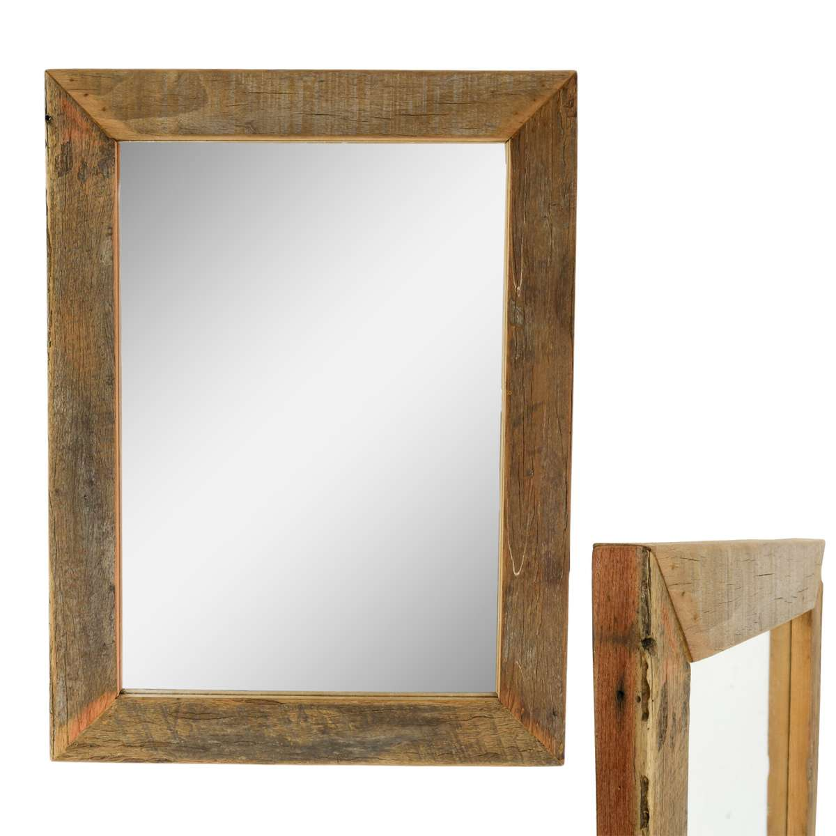 spiegel mit rahmen aus holz mosaik wandspiegel massiv holzrahmen ca 45 x 60 cm ebay