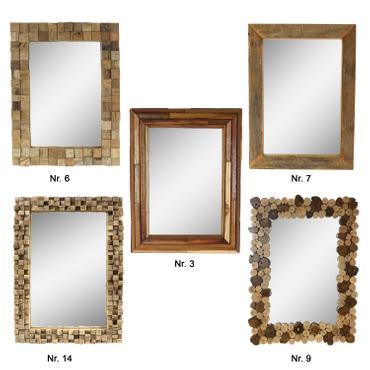 Dekorativer Spiegel mit Rahmen aus Holzscheiben Mosaik Wandspiegel aus Thailand Massiv Holzrahmen Holz-Spiegel ca. 45 x 60 cm 001