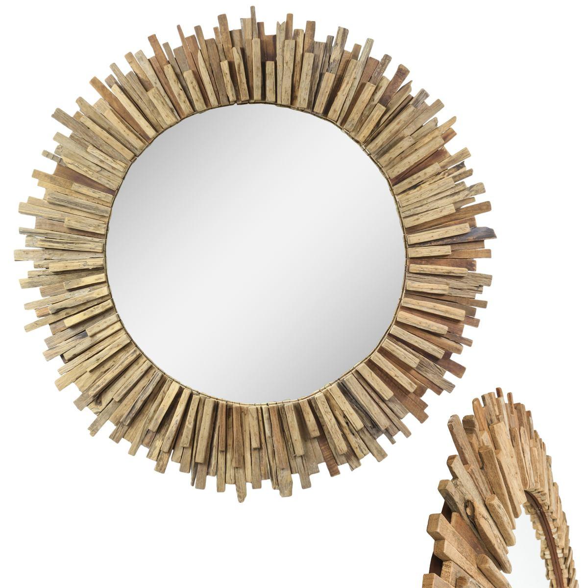 gro er spiegel mit rahmen aus holzst cken massiv. Black Bedroom Furniture Sets. Home Design Ideas