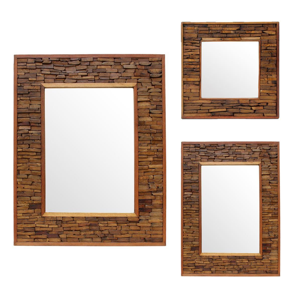Wandspiegel Spiegel Holzspiegel Rahmen Holzrahmen Thailand Massiv ca ...