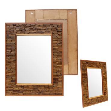 Wandspiegel Spiegel Holzspiegel Rahmen Holzrahmen Thailand Massiv ca. 50 x 50 / 50 x 70 / 80 x 100 cm Holz Hellbraun – Bild 3