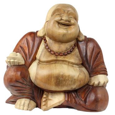 Happy Buddha-Figur China Skulptur Sitzend Budai Figur 31 cm Holz Braun Natur 001