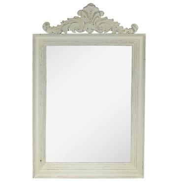 Wandspiegel Badezimmerspiegel mit Barock Rahmen aus Holz Spiegel Thailand Massiv Holzrahmen Creme Weiß ca. 70 x 110 cm