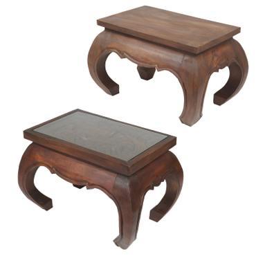 Opiumtisch Massiv 55 x 35 cm Nachttisch Beistelltisch Hocker Holz Tisch Wohnzimmer Pflanzenhocker – Bild 4