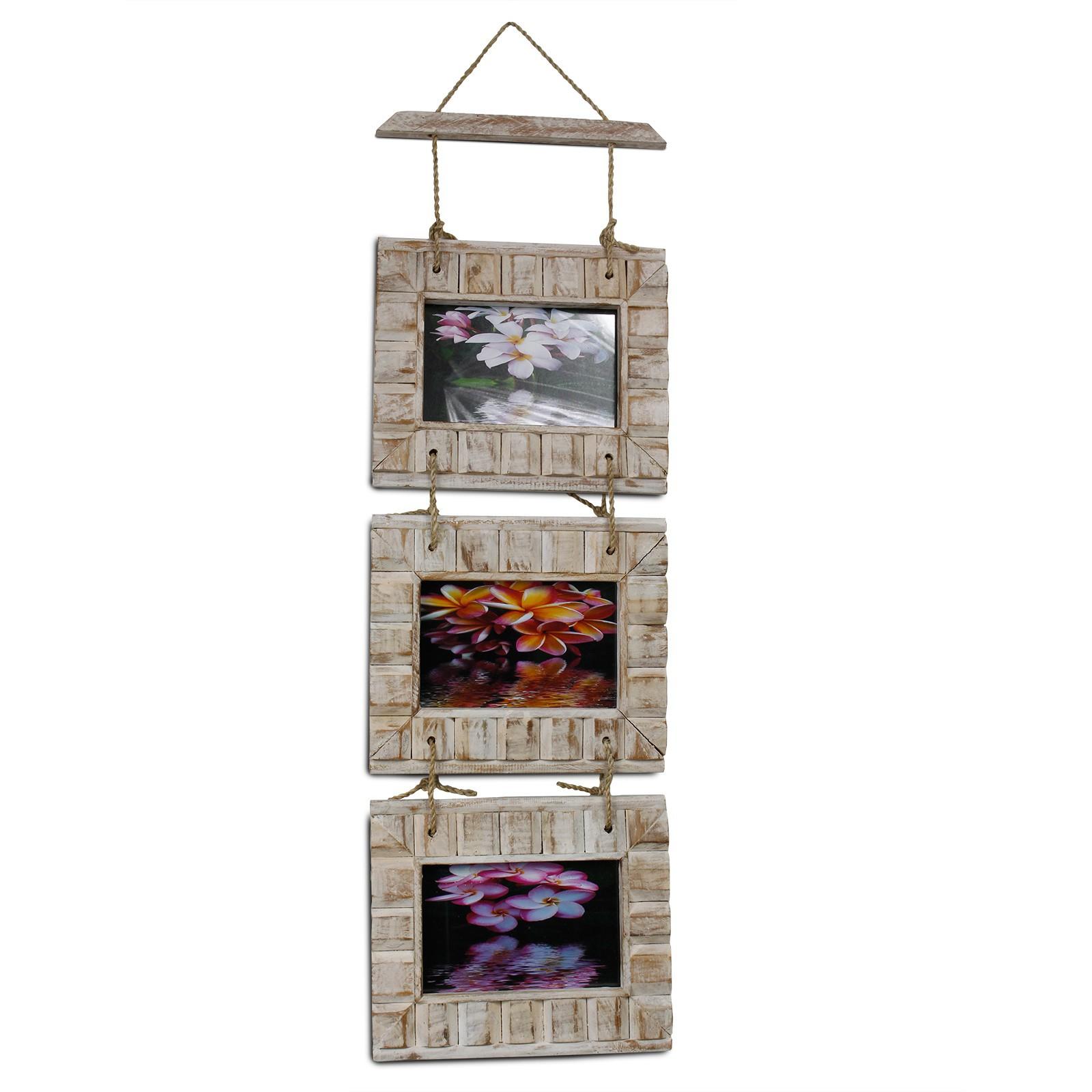 Bilderrahmen Fotorahmen Collage 3er Kette Holz 10x15 Rahmen rustikal ...