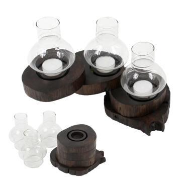 Rustikales Windlicht aus Teakholzscheibe windgeschützt durch Glasaufsatz für 1 bis 5 Teelichter – Bild 6