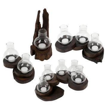 Rustikales Windlicht aus Teakholzscheibe windgeschützt durch Glasaufsatz für 1 bis 5 Teelichter – Bild 2