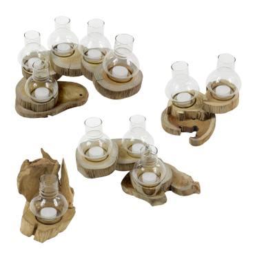 Rustikales Windlicht aus Teakholzscheibe windgeschützt durch Glasaufsatz für 1 bis 5 Teelichter – Bild 3
