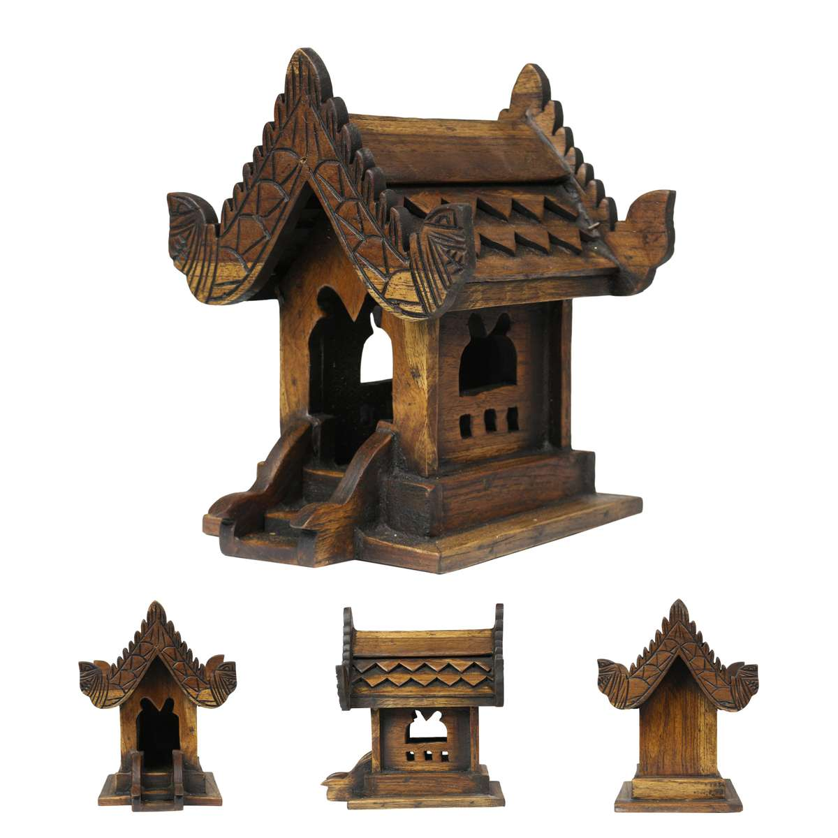 traditionelles geisterhaus aus holz in dunkelbraun geisterh uschen san phra phum feng shui. Black Bedroom Furniture Sets. Home Design Ideas