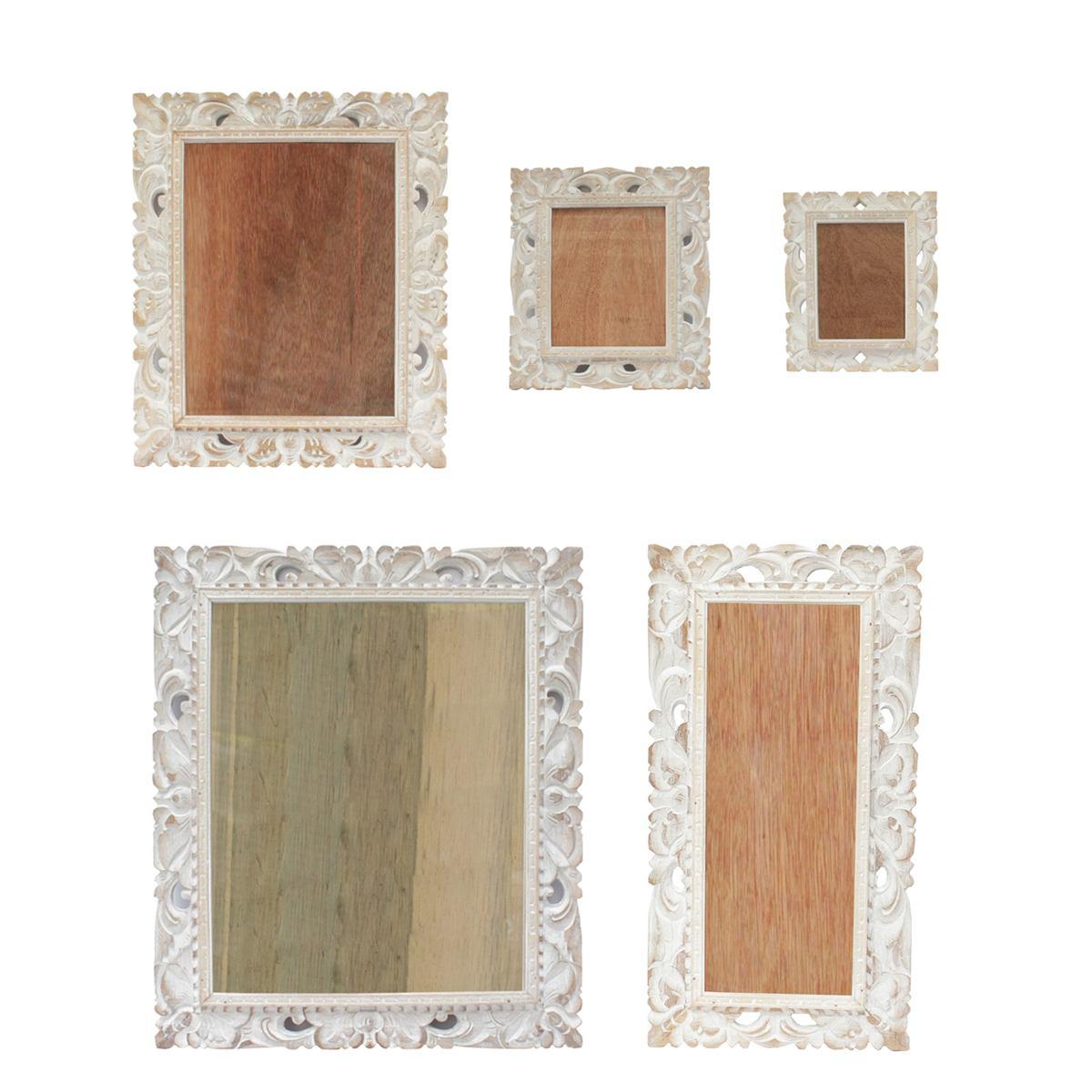 Bilderrahmen aus Holz Foto Rahmen Schnitzerei Wand Deko Glas