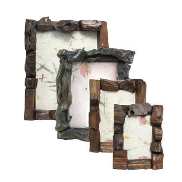 Rustikaler Bilderrahmen aus Holz Fotorahmen Rahmen Landhausstil Thailand Braun – Bild 2