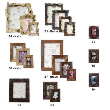 Rustikaler Bilderrahmen aus Holz Fotorahmen Rahmen Landhausstil Thailand Braun – Bild 1