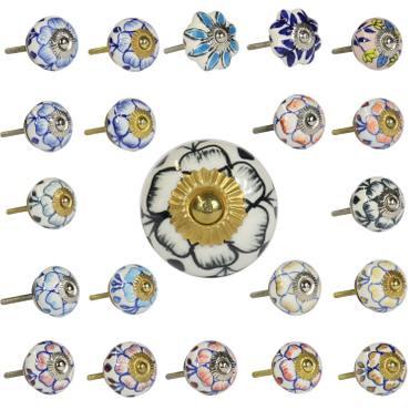 Porzellanknopf mit Blumen Muster ähnlich Strohblumenmuster Möbelgriff Keramikknauf Porzellan Keramik Knauf Knopf Messing viele Modelle – Bild 1