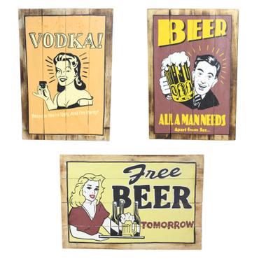 Holzschild Wandschild Wandbrett Spruch Bild Beer Bier Vodka Motiv Spruchschild Reklametafel 60 cm