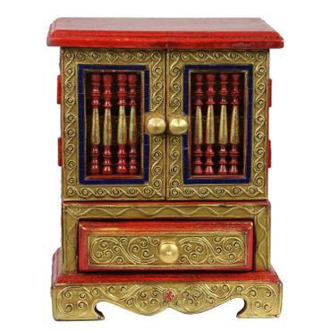 Edler Schmuckschrank Schmuckschatulle Schränkchen Schmuckkasten Holzkasten Holz Kästchen Gold Rot 24 cm *B-Ware* – Bild 1