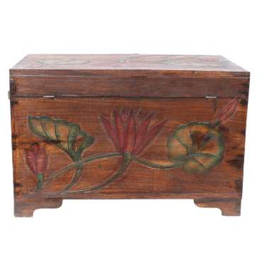 Truhe Holzkiste Holztruhe Schatztruhe Kiste Box Palmenholz Holzbox Blumen Schnitzereien Braun Bunt 59 cm – Bild 3