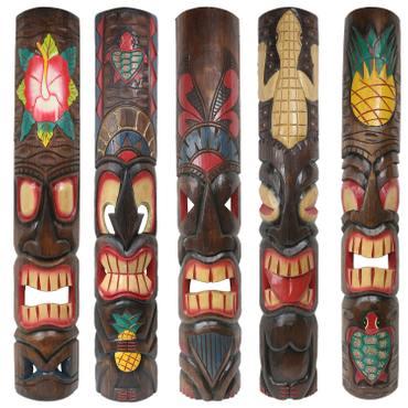 Holzmaske Tiki Südsee Hawaii-Maske Bar Deko Wand-Deko Wandbrett 1m verschiedene Motive zur Auswahl – Bild 1