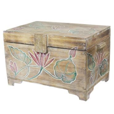 Truhe Holzkiste Holztruhe Schatztruhe Kiste Box Palmenholz Holzbox Blumen Schnitzereien Natur Bunt 60 cm