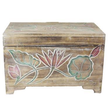 Truhe Holzkiste Holztruhe Schatztruhe Kiste Box Palmenholz Holzbox Blumen Schnitzereien Natur Bunt 59 cm – Bild 4