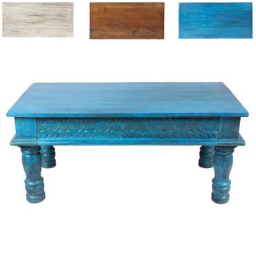 Couchtisch Wohnzimmertisch Holztisch Beistelltisch aus Indien Shabby Chic Türkis Hellblau 100 cm K3