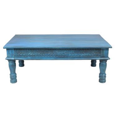 Couchtisch Wohnzimmertisch Holztisch Beistelltisch aus Indien Shabby Chic Türkis Hellblau 120 cm G3 – Bild 5