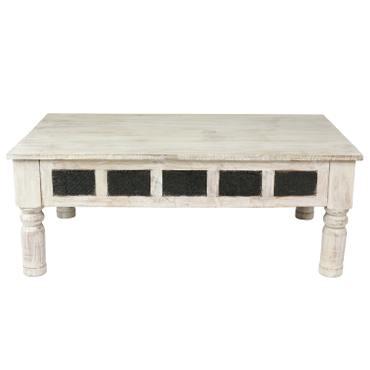 Couchtisch Wohnzimmertisch Holztisch Beistelltisch aus Indien Shabby Chic Whitewash 120 cm S1 – Bild 6