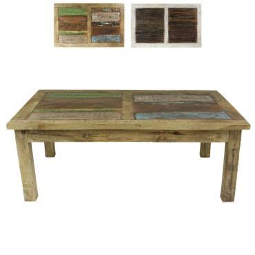 Couchtisch Wohnzimmertisch Mangoholz Holztisch Beistelltisch klein Indien mit bunten Holzstücken niedrig als Tischplatte Shabby Chic Natur Bunt 120 cm – Bild 1