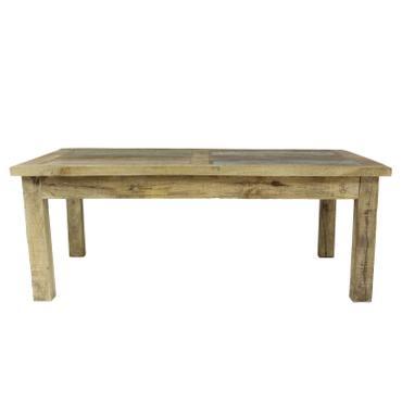 Couchtisch Wohnzimmertisch Holztisch Beistelltisch aus Indien Mangoholz mit bunten Holzstücken als Tischplatte Shabby Chic Natur Bunt 120 cm – Bild 4