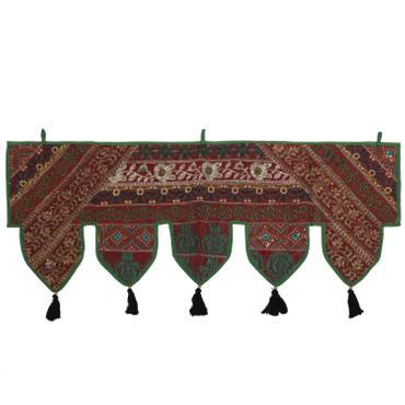 Wandbehang mit Pailletten und Glitzerfäden Thorang Türbehang Türschmuck Toran Fensterbehang Indien 100cm Grün  – Bild 1