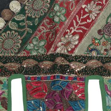 Wandbehang mit Pailletten und Glitzerfäden Thorang Türbehang Türschmuck Toran Fensterbehang Indien 100cm Grün  – Bild 6