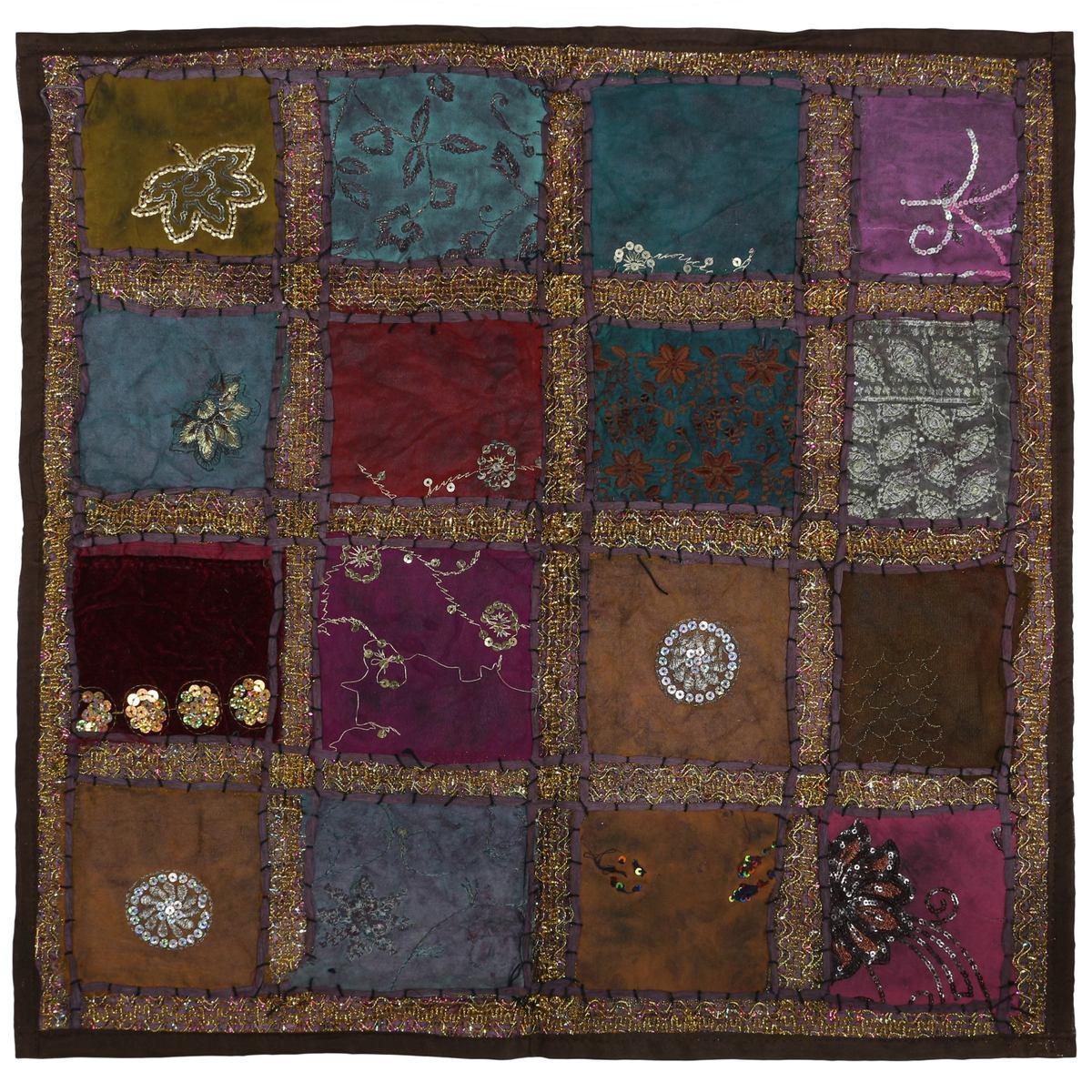 kissenh lle patchwork indien kissenbezug berzug bezug h lle sari stoff 60x60 cm textilien. Black Bedroom Furniture Sets. Home Design Ideas