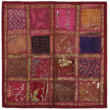 Kissenhülle Patchwork Indien Kissenbezug Überzug Bezug Hülle Sari Stoff 60x60 cm – Bild 7