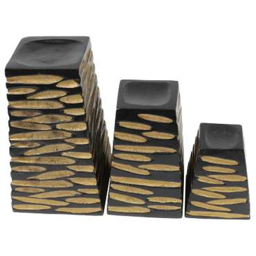 Teelichthalter Briefbeschwerer Kerzenhalter Deko Mango Holz Teelicht Thailand Turm Schwarz Gold 3er Set – Bild 2