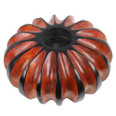Kerzenhalter aus Holz für Teelicht Teelichthalter Adventslicht Weihnachtskerze Adventsdeko Weihnachtsdeko Mango Holz Thailand Rund 15 cm Orange – Bild 1