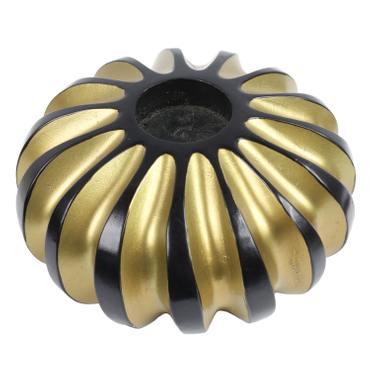 Adventslicht Weihnachtskerze Weihnachtsdeko Kerzenhalter Holz Teelicht Teelichthalter Adventsdeko Mango Holz Thailand Rund 15 cm Gold – Bild 1
