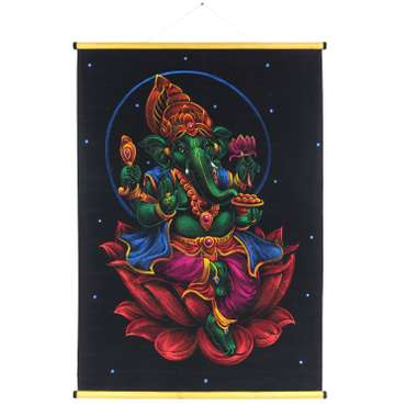 Textilbild aus Samt Ganesha ca. 70x100 cm Glitzer Neon Schwarz Bunt Grün RB2 – Bild 1