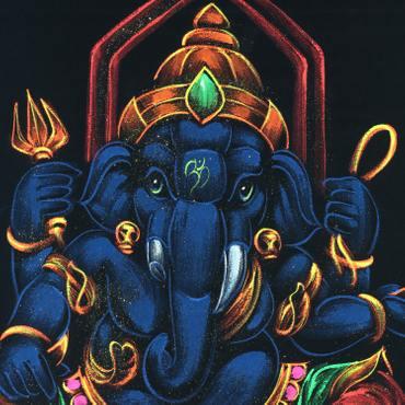 Ganesha Wandbild auf Samt Rollbild ca. 70x50 cm Glitzer Schwarz Blau RB4 – Bild 2