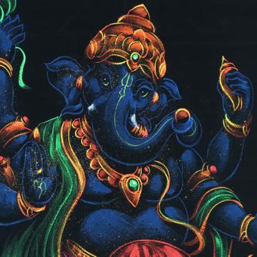 Bild auf Samt Ganesha Rollbild ca. 70x50 cm Glitzer Schwarz Blau RB5 – Bild 2