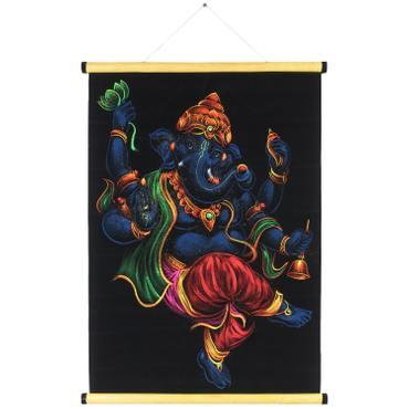 Bild auf Samt Ganesha Rollbild ca. 70x50 cm Glitzer Schwarz Blau RB5 – Bild 1