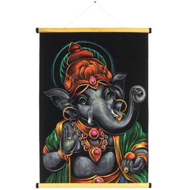 Ganesha Wandbild auf Samt Rollbild ca. 70x50 cm Glitzer Schwarz Grau RB6
