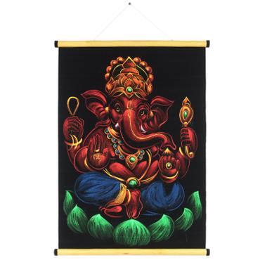 Ganesha Wanddeko Bild auf Samt Rollbild ca. 70x50 cm Glitzer Schwarz Rot RB8 – Bild 1