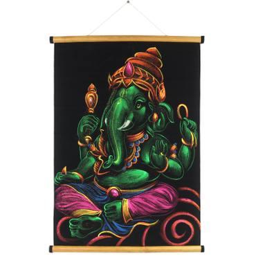 Ganesha Samtbild Wandbild Rollbild ca. 70x50 cm Glitzer Schwarz Grün RB11 – Bild 1