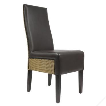 B-Ware Esszimmerstuhl Loomstuhl Kunstleder Stuhl Küchenstuhl 47 x 67 x 104 cm Dunkelbraun  – Bild 1