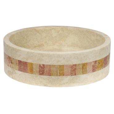 Marmor Waschbecken Stein Becken Basin Bad Waschschale Cream Mosaik Nr. 24 + PopUp Abfluss-Ventil Nr. 1 – Bild 8