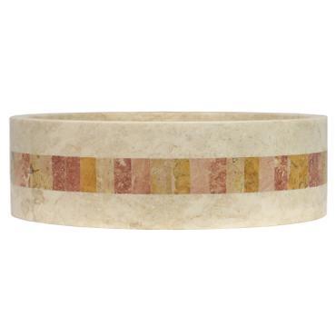 Marmor Waschbecken Stein Becken Basin Bad Waschschale Cream Mosaik Nr. 24 + PopUp Abfluss-Ventil Nr. 1 – Bild 3